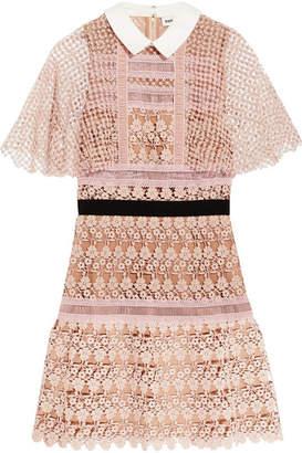 Self-Portrait - Guipure Lace Mini Dress - Blush $350 thestylecure.com