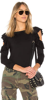 Susana Monaco Ruffle Cold Shoulder Top