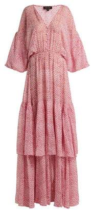 Saloni - Nikki Paisley Print Crepe De Chine Silk Dress - Womens - Pink White