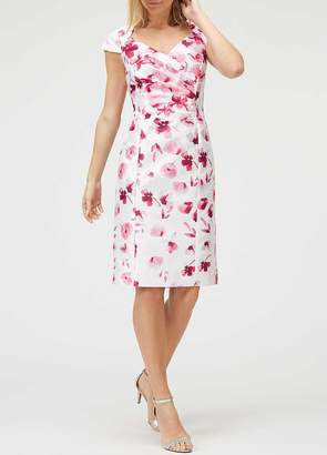 Jacques Vert Shantung Ruched Print Dress