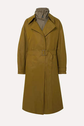 Low Classic Belted Layered Cotton-blend Canvas And Shell Trench Coat - Army green