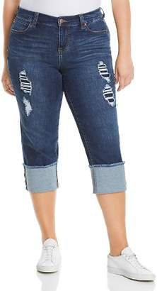 Liverpool Plus Wide-Cuff Cropped Jeans in Chapman Wash