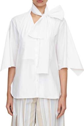 Palmer Harding Palmer//Harding bow-tie half-sleeve button-down cotton shirt