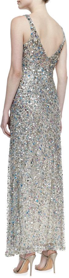 Nicole Miller Sleeveless V-Neck Sequined Gown, Khaki/Multicolor