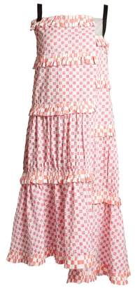 Loewe Patchwork Print Tiered Cotton Dress - Womens - Pink White