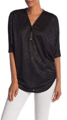 Papillon Lace Zip Front 3\u002F4 Sleeve Shirt