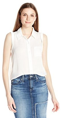 Buffalo David Bitton Women's Tristian Sleeveless Button Down Crepe Shirt with Tie Back $49 thestylecure.com