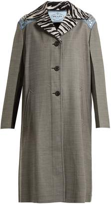 Prada Contrast-collar wool-blend coat