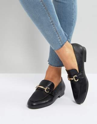 New Look Leather Look Buckle Detail Loafer