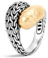 John Hardy Classic Chain Hammered 18K Gold& Silver Medium Bypass Ring