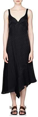 Off-White Women's Logo-Jacquard Satin A-Line Dress - Black