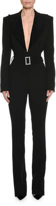 Tom Ford Long-Sleeve Plunging Tuxedo Straight-Leg Jumpsuit with Velvet Lapel