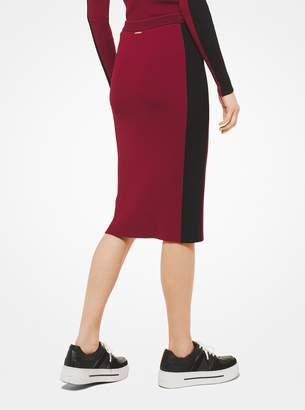 MICHAEL Michael Kors Contrast Stripe Stretch-Viscose Pencil Skirt