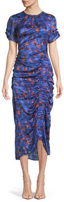 Tanya Taylor Audra Ruched Floral Burnout Midi Dress