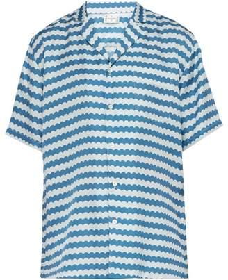 All At Sea - Wave Print Cuban Collar Silk Pyjama Shirt - Mens - Blue