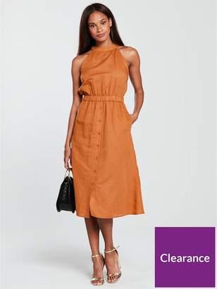 Warehouse Linen High Neck Midi Dress - Rust