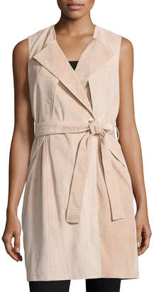 Neiman Marcus Belted Suede Trench Vest, Blush