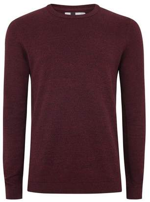 Topman Mens Red Burgundy And Black Twist Sweater