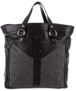 Ghurka Herringbone-Trimmed Leather Tote