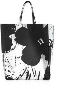 Calvin Klein Andy Warhol Soft Floral Leather Tote