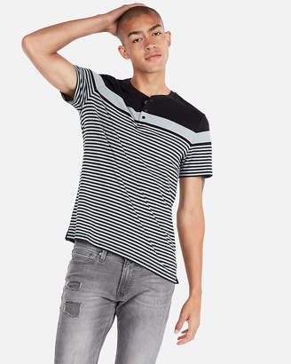 Express Striped Color Block Henley