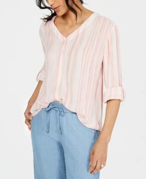 Style&Co. Style & Co Striped Button-Front Shirt, Created for Macy's
