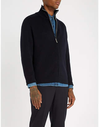 Sandro Funnel-neck ribbed wool-blend cardigan