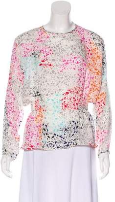 Tanya Taylor Printed Silk Long Sleeve Top