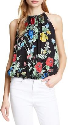 Alice + Olivia Rosa Floral Print Silk Blend Halter Top
