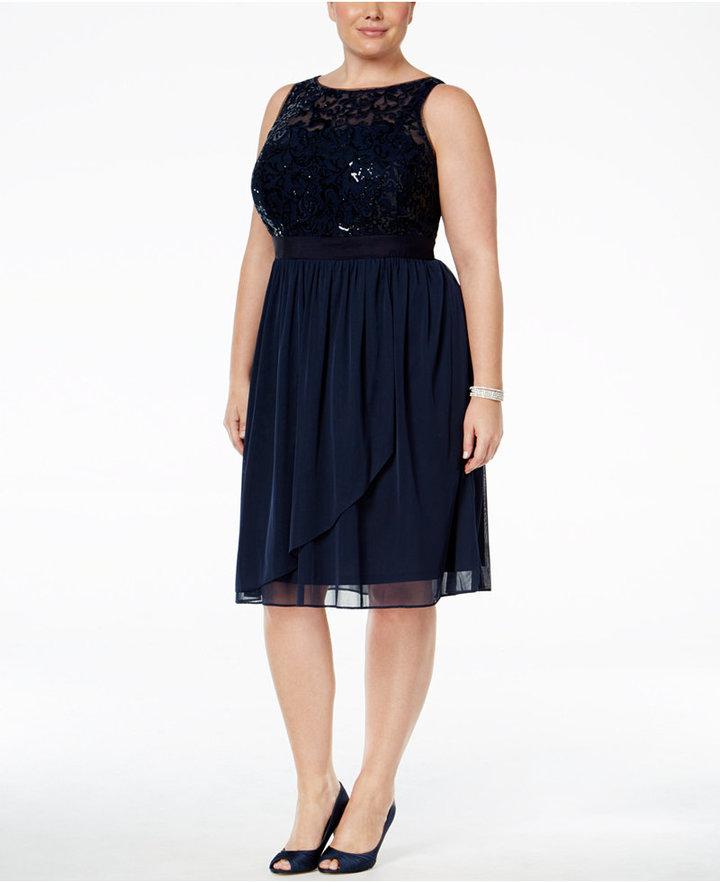 Adrianna PapellAdrianna Papell Plus Size Sequined Illusion Draped Dress