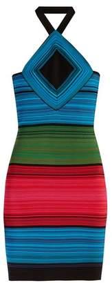 Balmain Halterneck Striped Mini Dress - Womens - Multi