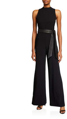 Alice + Olivia Lucca Mock-Neck Jumpsuit with Leather Belt