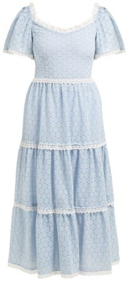 Luisa Beccaria Lace Trimmed Broderie Anglaise Cotton Blend Dress - Womens - Blue White