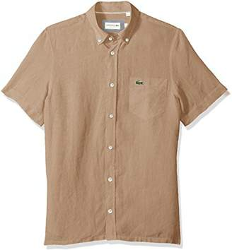 Lacoste Men's Short Sleeve Solid Linen Button Down Collar Reg Fit Woven Shirt