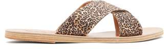 Ancient Greek Sandals Thais Satin Slides - Womens - Leopard