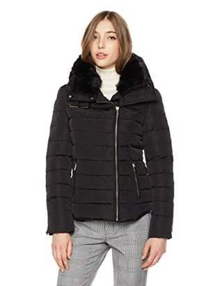 Royal Matrix Women's Asymmetrical Removable Faux Fur Collar Down Jacket Buckle on Neck (