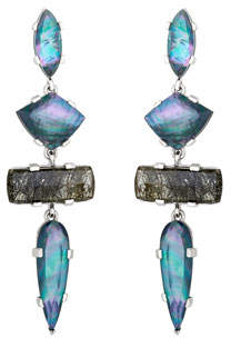 Stephen Dweck Four-Stone Drop Earrings w/ Mixed Quartz/Mother-of-Pearl/Agate
