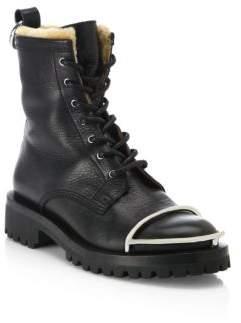 Alexander Wang Lyndon Shearling & Tumbled Leather Combat Boots