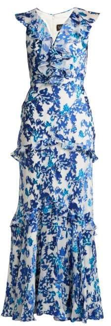 Rita floral-devoré V-neck gown