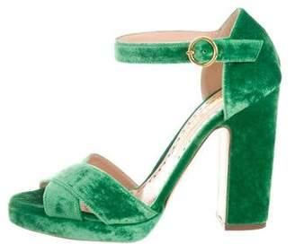 Rupert Sanderson Velvet Platform Sandals w/ Tags