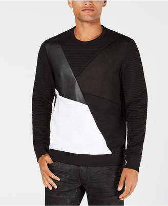 INC International Concepts I.n.c. Men's Colorblocked Mixed Media Sweater, Created for Macy's