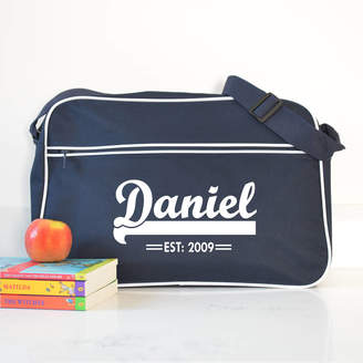 A Type Of Design Personalised French Navy Retro Shoulder Bag With Name