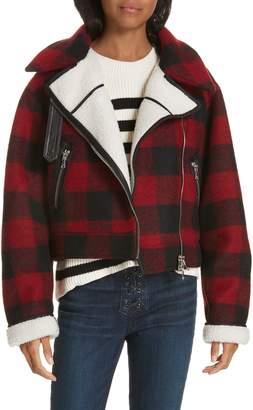 Veronica Beard Benni Faux Shearling Lined Buffalo Check Moto Jacket