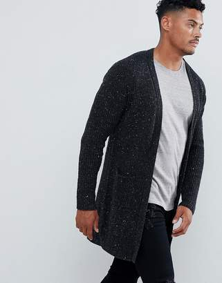 Religion Longline Cardigan In Gray Fleck Knit
