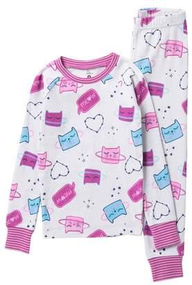 Petit Lem Cat Two-Piece Pajama Set (Toddler & Little Girls)