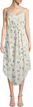 Zimmermann Pintuck Floral Bouquet-Print Silk Slip Dress