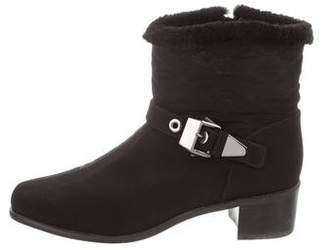 Stuart Weitzman Woven Round-Toe Ankle Boots