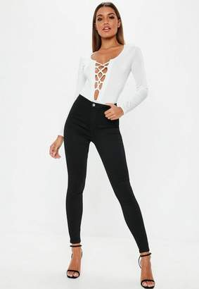 Missguided High Waisted Skinny Jeans Black