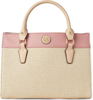 Anne Klein Color Block Straw Satchel