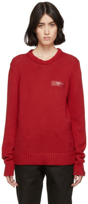 Off-White Off White Red Knit Logo Crewneck Sweater